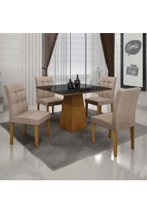 Conjunto De Mesa Com 4 Cadeiras Itália Ii Imbuia Mel E Bege