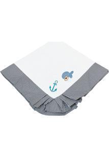 Manta Enxoval Piquet Padroeira Baby Urso Náutico Azul Marinho