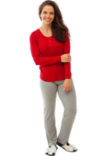d78177f4f Pijama De Amamentação Mania Pijamas Longo Vermelho