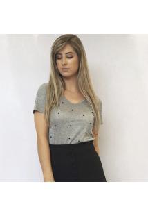 T-Shirt Cinza Mescla Com Pérolas