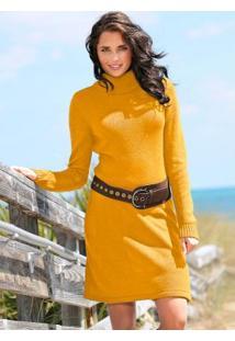 Vestido De Tricô Amarelo