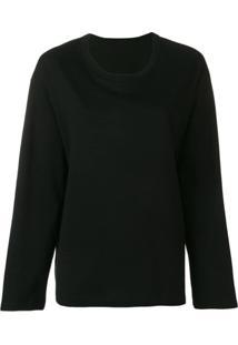 Yohji Yamamoto Camiseta Mangas Longas Com Slogan - Preto