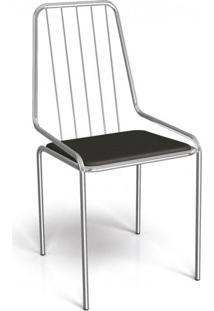 Cadeira De Ferro Benim Crome Kappesberg Cromado/Preto