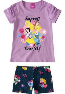 Conjunto Lilás Princesas Da Disney® Malwee Kids