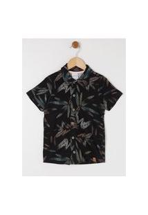 Camisa Manga Curta Estampada Infantil Para Menino - Preto