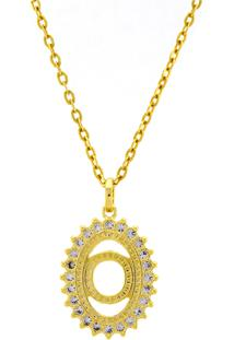 Gargantilha Horus Import Pingente Letra O Banhada Ouro Amarelo 18 K - 1060217