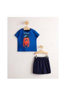 """Pijama Infantil De Algodão Monstrinho """"Monster Sleeping"""" Manga Curta Azul"""