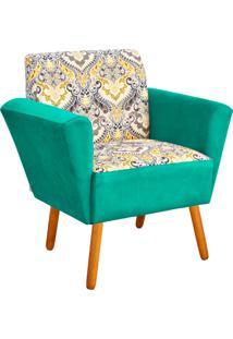 Poltrona Decorativa D'Rossi Dora Estampado D77 Com Suede Verde Tiffany