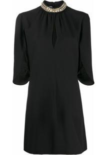 Prada Vestido Mini Com Detalhe Vazado - Preto