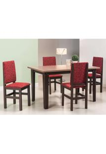 Conjunto De Mesa Com 4 Cadeiras Leal Tabaco E Vermelho
