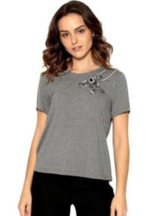 Camiseta Malha Bordada Moché Feminina - Feminino-Cinza