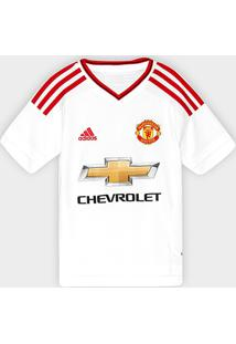 Camisa Manchester United Infantil Away 15/16 S/Nº - Torcedor Adidas - Masculino-Branco+Vermelho