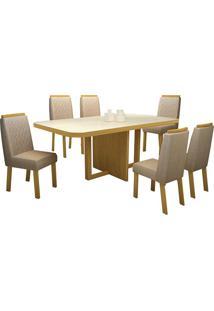 Sala De Jantar Fiord 180 Cm Com 6 Cadeiras Noce Veludo Luxo