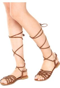 Rasteira Dafiti Shoes Gladiadora Tressê Marrom