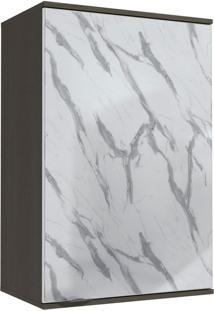 Armário Aéreo Cozinha Nox 1 Porta Com Vidro Pedra/Onix/Steel - Kappesberg