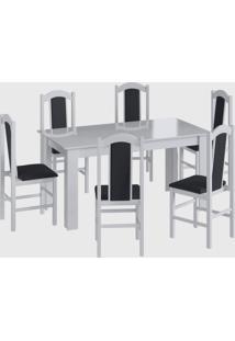 Conjunto Mesa Fixa 6 Cadeiras Branco Móveis Canção