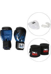 40ddfd1d8 Kit Luva De Boxe   Muay Thai Bad Boy 12 Oz + Bandagem Elástica + Protetor