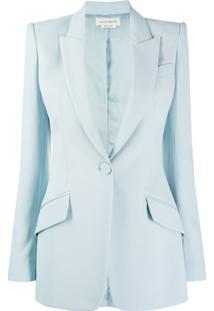 Alexander Mcqueen Blazer Com Abotoamento Simples - Azul