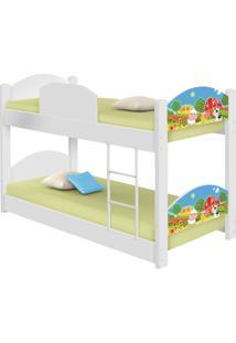 Beliche Infantil Fazendinha Colorida Com 2 Colchãµes Casah - Branco/Multicolorido - Menina - Dafiti