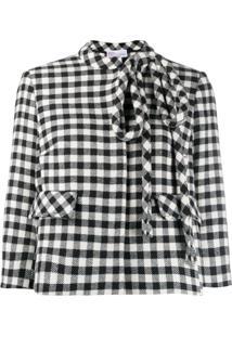 Redvalentino Gingham-Check Cropped Jacket - Preto