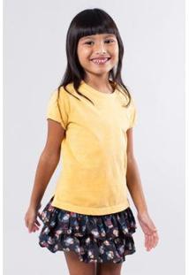 Camiseta Basica Lisa Reserva Mini Feminina - Feminino-Amarelo
