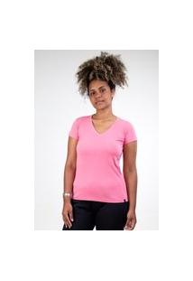 Camiseta Meio Swag Básica Gola V Rosa