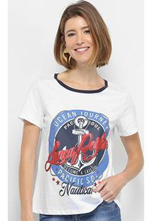 Camiseta Lança Perfume Descolada Pacif Soul Feminina - Feminino-Branco