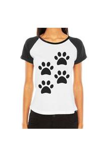 Camiseta Raglan Criativa Urbana 4 Patas Love Pet Branco