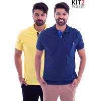Kit 2 Camisas Polo Live - Lifestyle Com Bolso Azul Marinho E Amarela-G1 da5ad6fc29fde