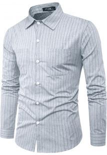 Camisa Masculina Slim Com Riscas Verticais Manga Longa - Cinza G