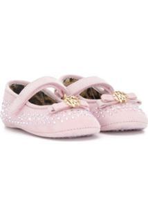 Roberto Cavalli Junior Sapatos Pre-Walker Com Aplicações - Rosa
