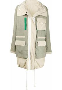 Yves Salomon Army Casaco Impermeável Color Block - Verde