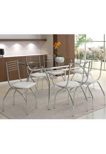 Mesa 379 Com Vidro Incolor Cromada Com 6 Cadeiras 146 Branca Carraro