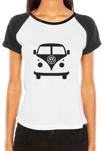 Camiseta Raglan Criativa Urbana Carro Antigo Cássico Kombi - Feminino-Branco