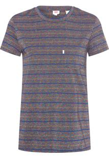 Camiseta Feminina Pocket - Azul