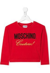 Moschino Kids Moletom Cropped Com Logo - Vermelho