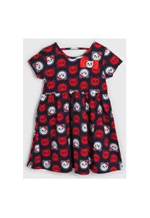 Vestido Kyly Infantil Gatinho Azul-Marinho/Vermelho
