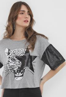 Camiseta My Favorite Thing(S) Paet㪠Cinza - Cinza - Feminino - Viscose - Dafiti