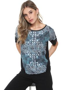 Camiseta Sacada Névoa Preta/Azul