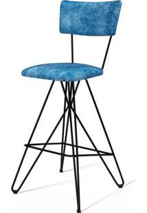 Banqueta Pop Azul Base Estrela Preta 98 Cm (Alt) - 49687 - Sun House