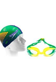 4ea751381 Kit Natação Com Óculos Speedo Hydrovision + Touca Eu Amo O Brasil - Unissex