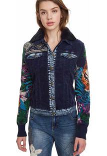 Jaqueta Desigual Estampada Azul-Marinho