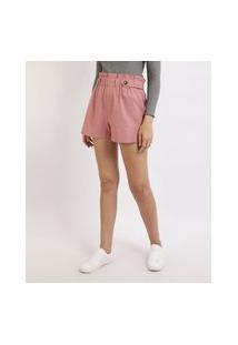 Short Feminino Clochard Cintura Alta Com Botões Rosa