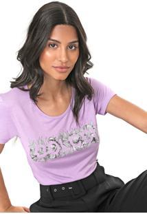 Camiseta Colcci Folhagem Lilás