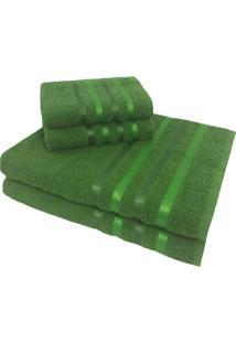 Jogo De Toalha 4 Peã§As Kit De Toalhas 2 Banho 2 Rosto Jogo De Banho Verde - Verde - Dafiti