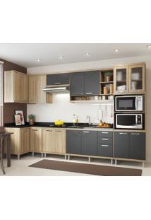 Cozinha Compacta Multimóveis 15 Portas E 3 Gavetas Argila/Grafite