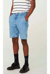 Bermuda Jeans Masculina Tradicional De Algodão Azu