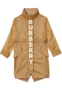 Burberry Kids Detachable Hood Logo Print Lightweight Parka - Marrom