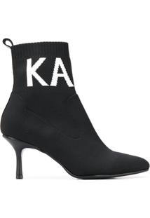 Karl Lagerfeld Ankle Boot Pandora Knit Collar - Preto
