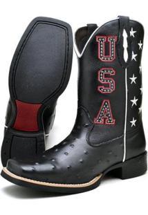 Bota Texana Su Fashion Store Cano Longo Usa Couro Masculina - Masculino-Preto